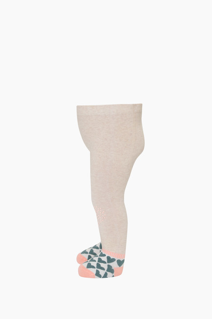 Heart Printed Sole&Knee Antislip Baby Tights - Thumbnail
