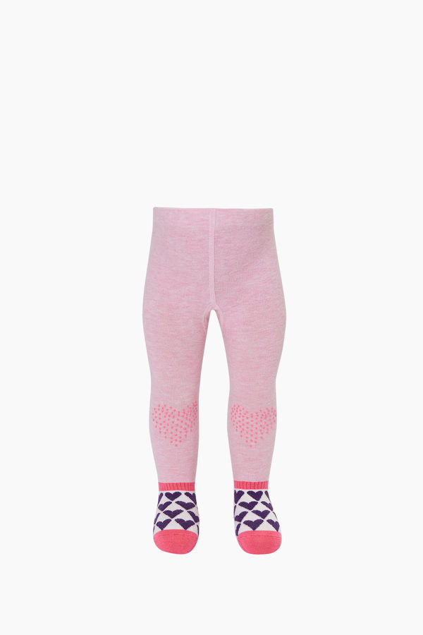 Heart Printed Sole&Knee Antislip Baby Tights
