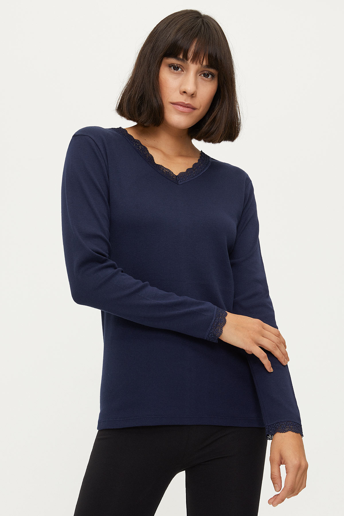 Bross - 100% Cotton Lace Long Sleeved Women's Flannel