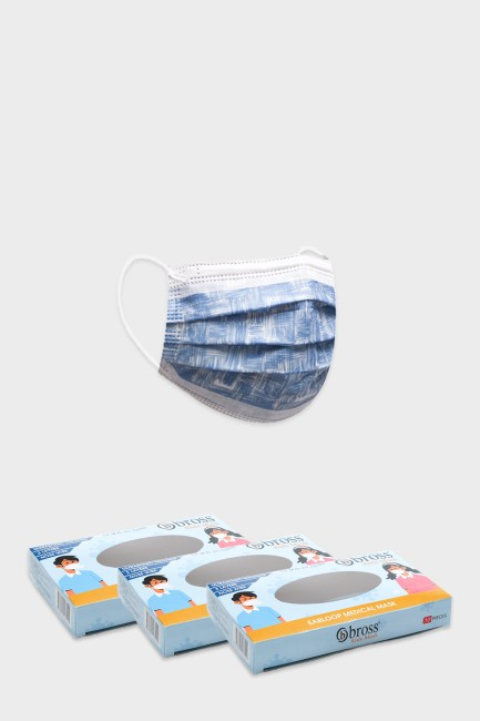 Bross - Bross 3 boxes of 10 pcs Paint Patterned Kids' Surgical Mask