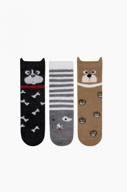 Bross - Bross 3-Pack 3D Animal Patterned Feathered Women's Socks