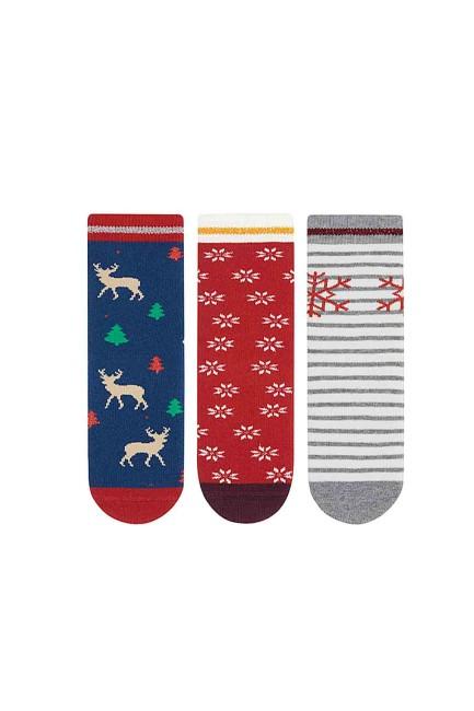 Bross - Bross 3-Pack Snowflake, Deer Patterned Anti-Slip Terry Kids' Socks