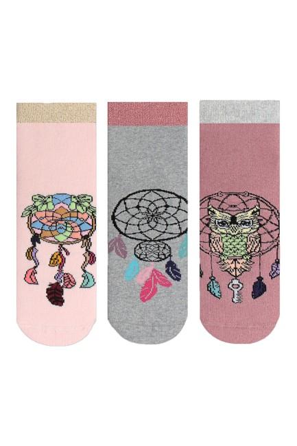 Bross - Bross 3-Pack Mandala Patterned Anti-Slip Terry Women's Socks-2