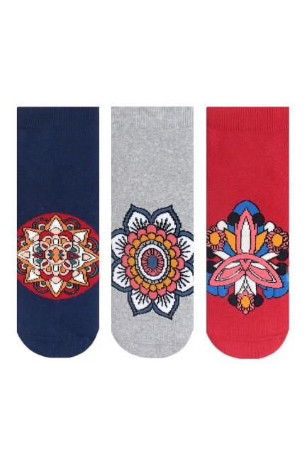 Bross - Bross 3-Pack Mandala Patterned Anti-Slip Terry Women's Socks-3