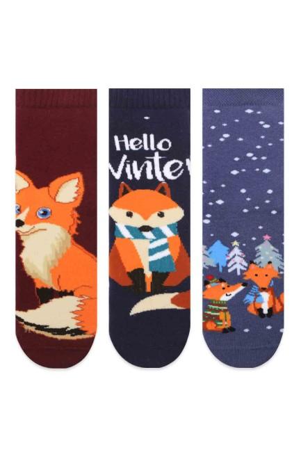 Bross - Bross 3-Pack Fox Patterned Anti-Slip Terry Kids' Socks