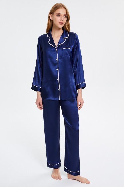 Bross - Buttoned Long-Sleeved Women's Pyjama Set