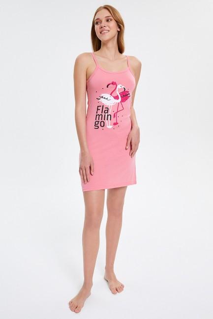 Bross - Flamingo Patterned Strappy Women's Pyjama