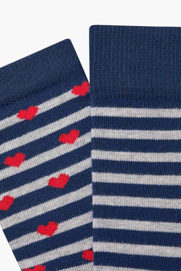Bross Lovers Combination Heart Patterned Couple's Socks
