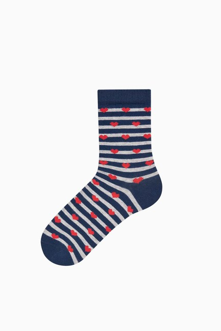 Bross Lovers Combination Heart Patterned Couple's Socks - Thumbnail