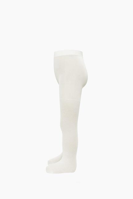 Kabartma Desenli İnce Külotlu Çocuk Çorabı Ekru - Thumbnail