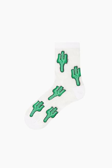 Bross - Bross Kaktüs Desenli Floş Kadın Çorabı