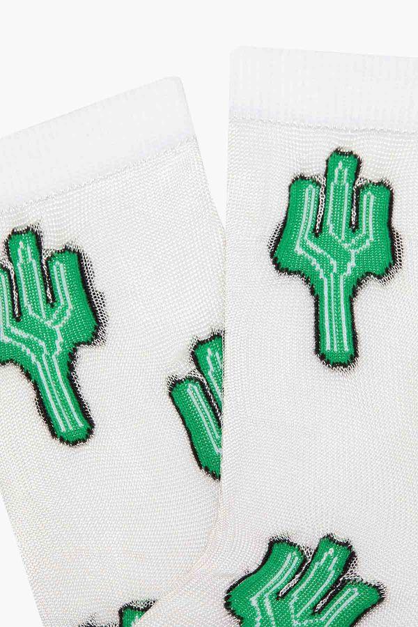 Bross Kaktüs Desenli Floş Kadın Çorabı
