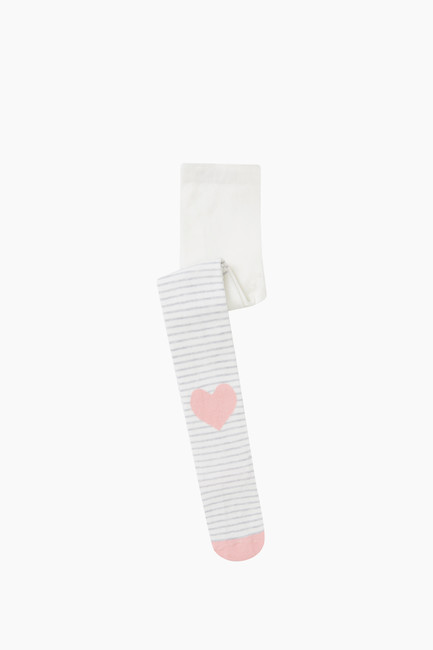 Kalp Desenli Çocuk Külotlu Çorap - Thumbnail
