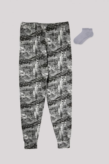 Bross - Camouflage Patterned Men's Jogger and Booties Socks Combination