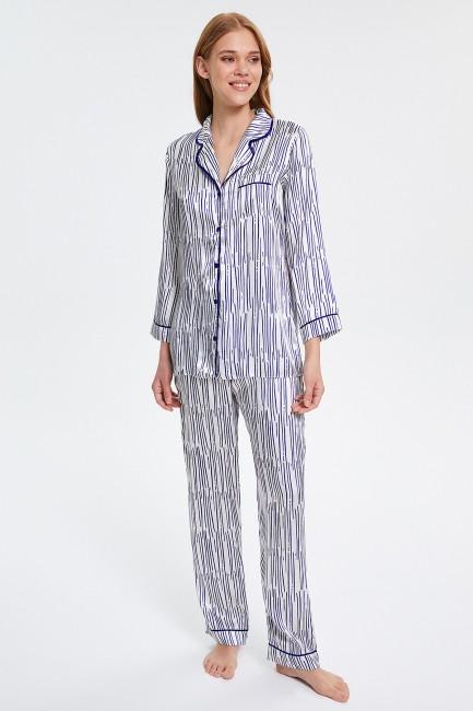 Bross - Karışık Çizgili Desenli Düğmeli Uzun Kollu Kadın Pijama Takımı