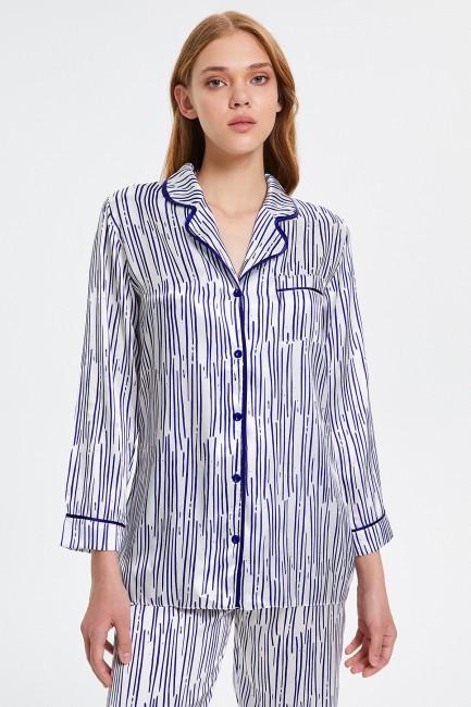 Karışık Çizgili Desenli Düğmeli Uzun Kollu Kadın Pijama Takımı - Thumbnail