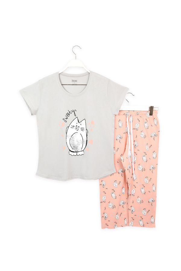 Kedi Desenli Anne Çocuk Kombin Pijama Takımı