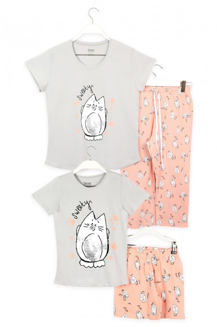 Bross - Cat Patterned Mother Child Combined Pajamas Set