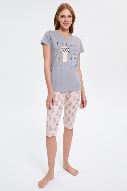 Bross - Kedi Desenli Kapri Kadın Pijama Takımı