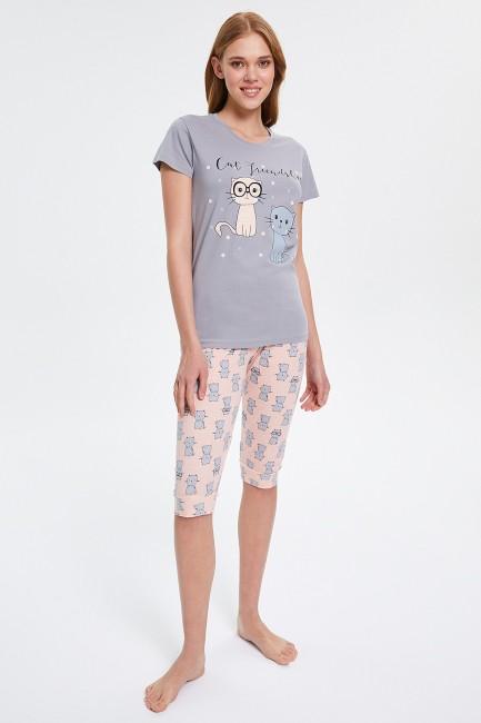 Bross - Capri Damen Pyjamas Set mit Katzenmuster