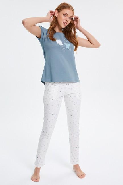 Bross - Katzenmuster Kurzarm Damen Pyjamas Set