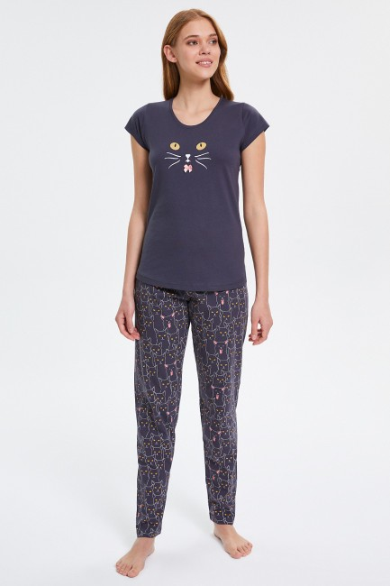 Bross - Cat Patterned Short Sleeve Women's Pajamas Set