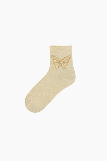 Bross - Kelebek Aksesuralı Simli Kadın Çorabı