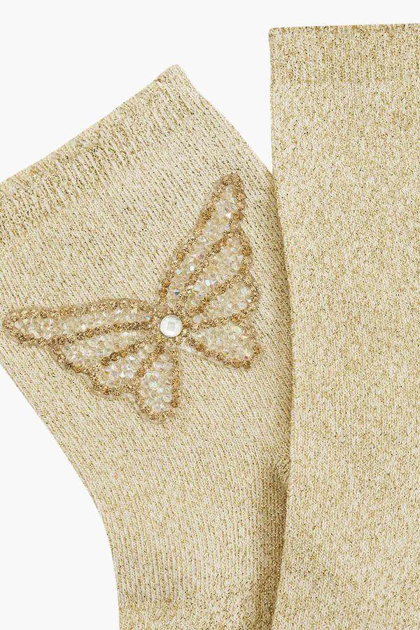 Bross Kelebek Aksesuralı Simli Kadın Çorabı