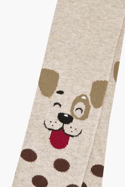 Köpek Desenli Çocuk Külotlu Çorap - Thumbnail