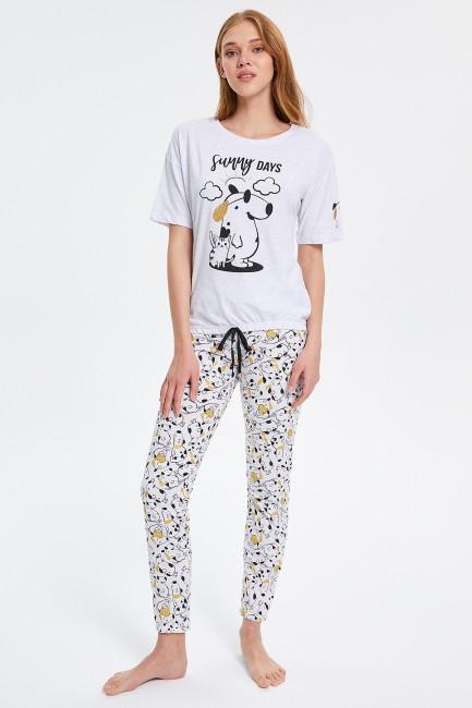 Bross - Köpek Desenli Yarım Kollu Kadın Pijama Takımı