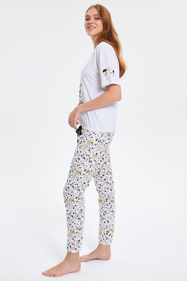 Köpek Desenli Yarım Kollu Kadın Pijama Takımı