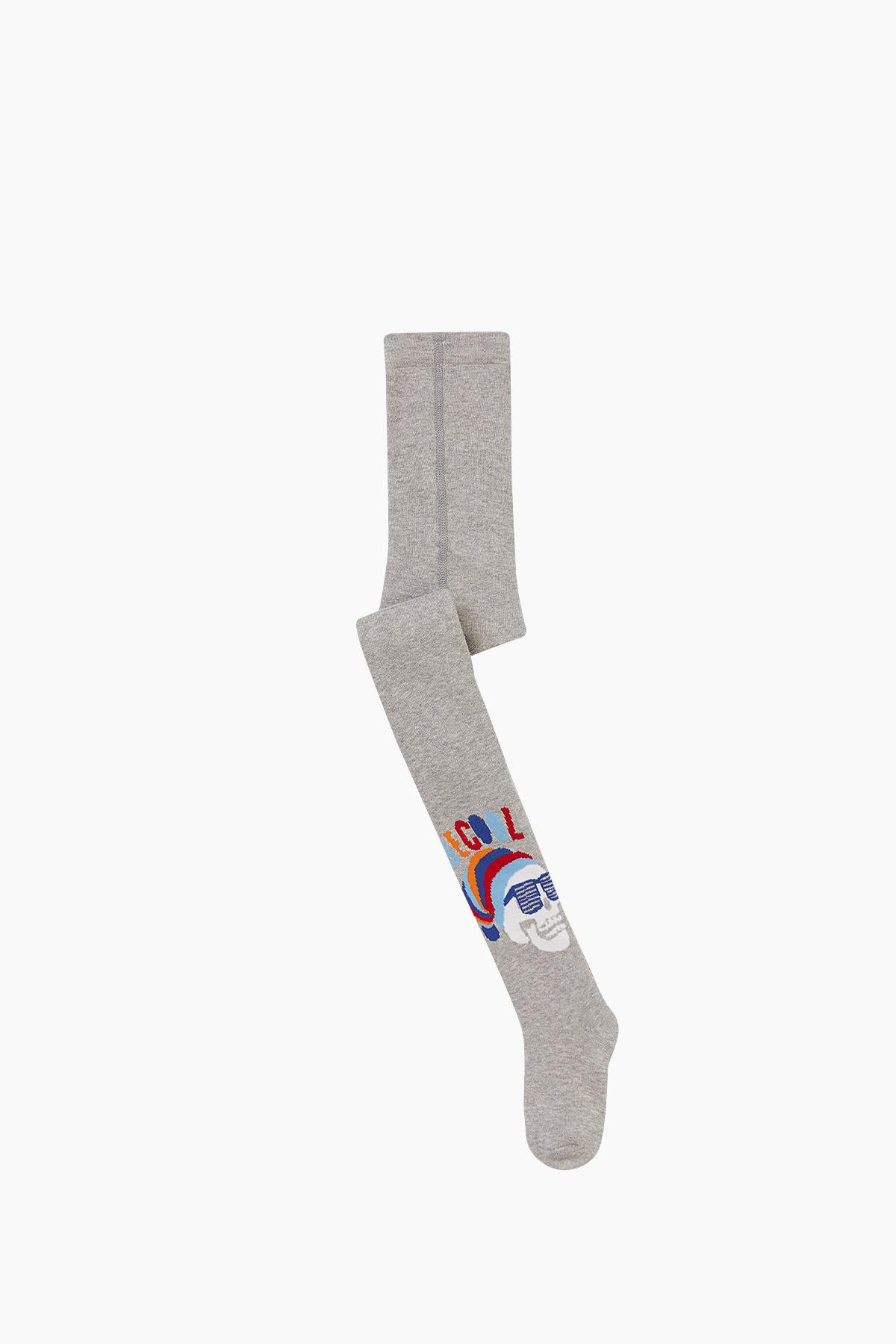 Bross - Bross Kuru Kafa Desenli Havlu Külotlu Çocuk Çorabı