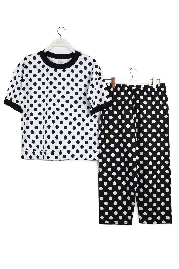 Kutulu Anneler Günü Kısa Kollu Pijama Takımı