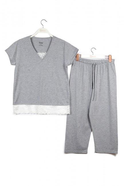 Kutulu Kısa Kollu Dantelli Kadın Pijama Takımı - Thumbnail
