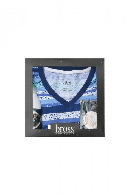 Bross - Kutulu Kısa Kollu Renkli Erkek Pijama Takımı