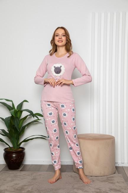 Bross - Kuzu Desenli Uzun Kollu Kadın Pijama Takımı