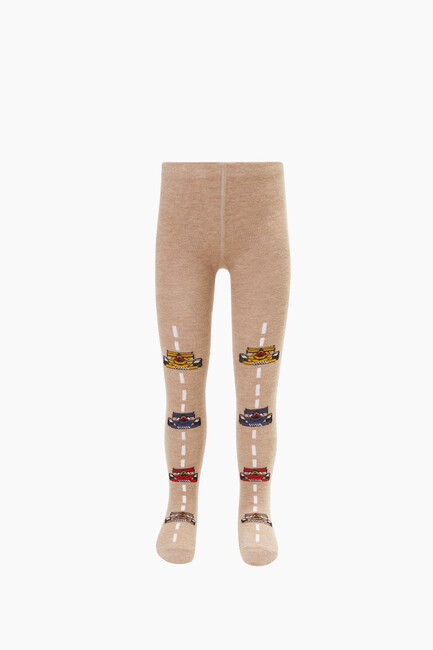 Lined Car Pattern Kids Tights - Thumbnail