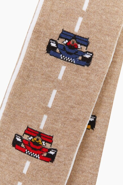 Lined Car Pattern Kids Tights - Thumbnail