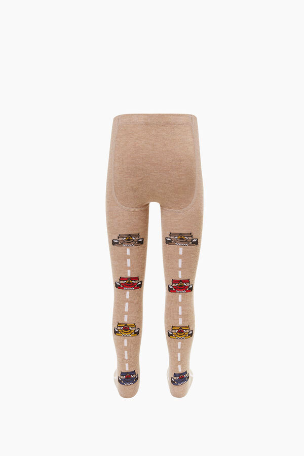 Lined Car Pattern Kids Tights