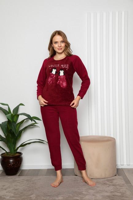 Bross - Long Sleeved Baby Penguin Patterned Women's Pyjamas Set