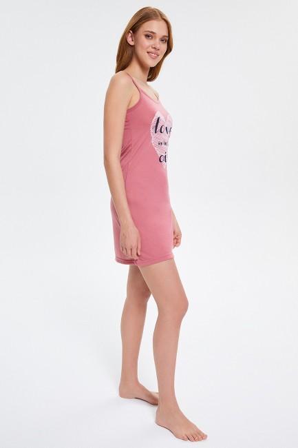 Love Desenli Askılı Kadın Elbise Pijama - Thumbnail