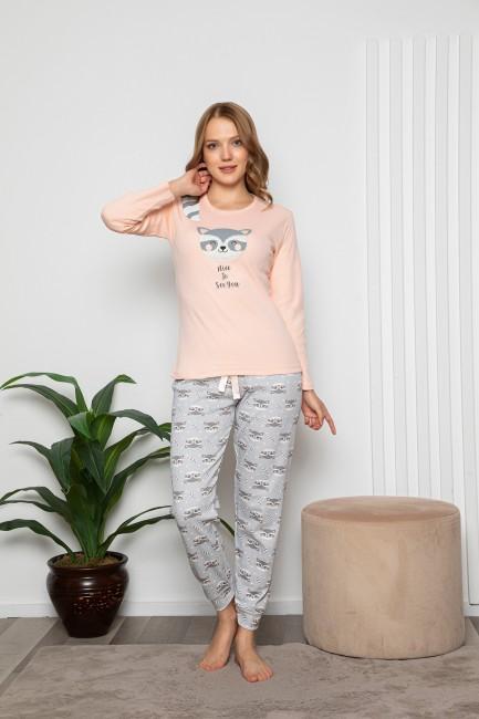 Bross - Maki Desenli Uzun Kollu Kadın Pijama Takımı