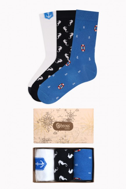 Bross - Marine Collection Kutulu 3'lü Erkek Çorabı 2
