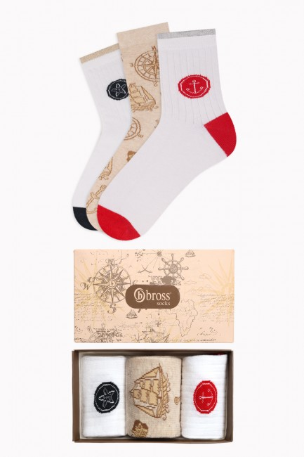 Bross - Marine Collection Kutulu 3'lü Kadın Çorabı 1