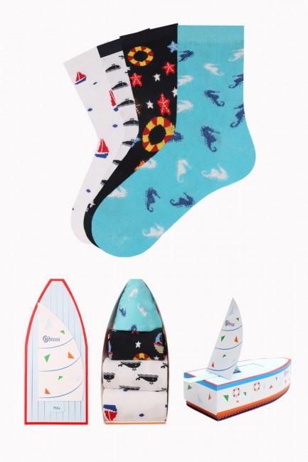 Bross - Marine Collection Kutulu 4'lü Çocuk Çorabı 2