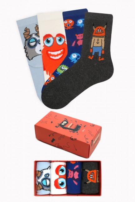 Bross - Monster Collection Kutulu 4'lü Çocuk Çorabı 1