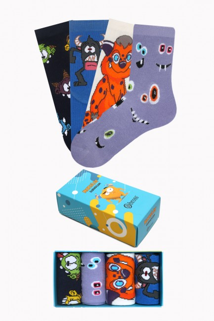 Bross - Monster Collection Kutulu 4'lü Çocuk Çorabı 2