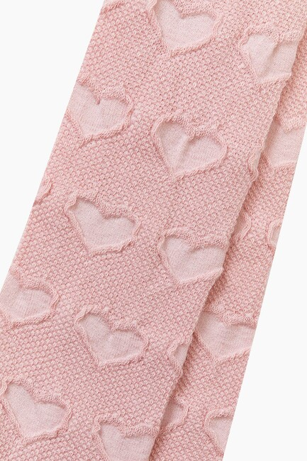 Organic Cotton Heart Pattern Kids Tights - Thumbnail