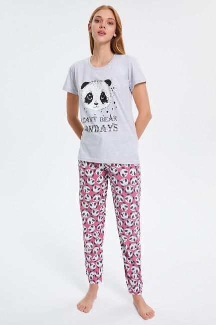 Bross - Panda gemusterte Kurzarm Damen Pyjamas Set