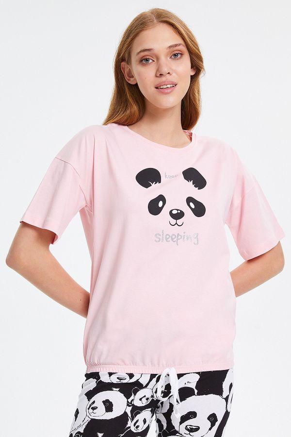 Panda Desenli Yarım Kollu Kadın Pijama Takımı